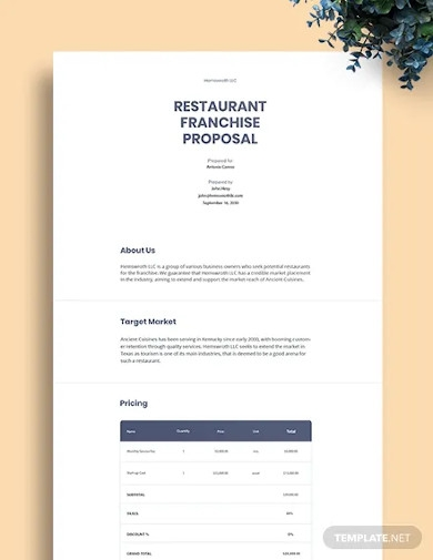 restaurant franchise proposal template
