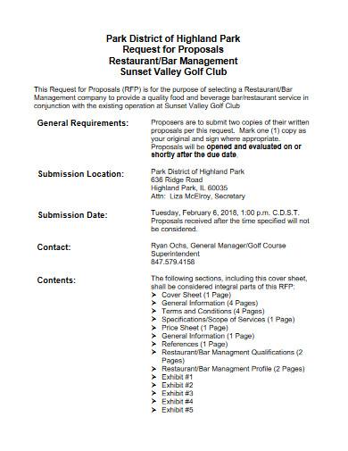 restaurant management proposal