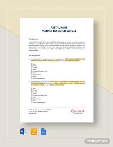 restaurant market research survey template
