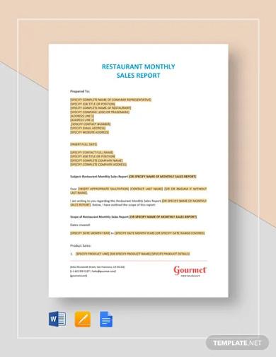 restaurant monthly sales report templates