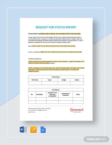 restaurant request for status report templates