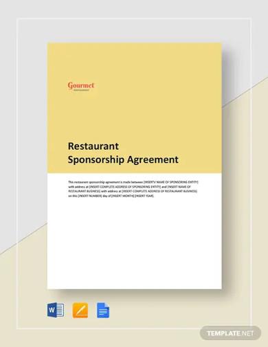 restaurant sponsorship agreement templates