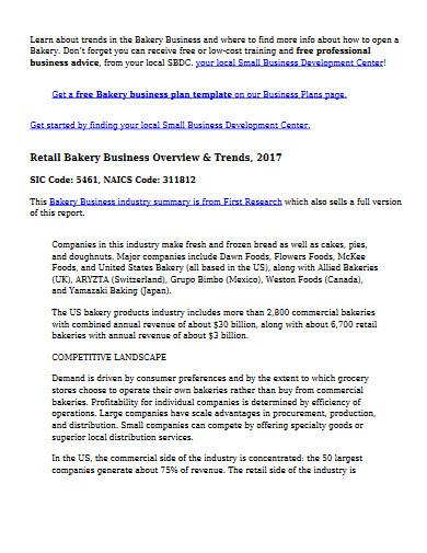 retail bakery business plan