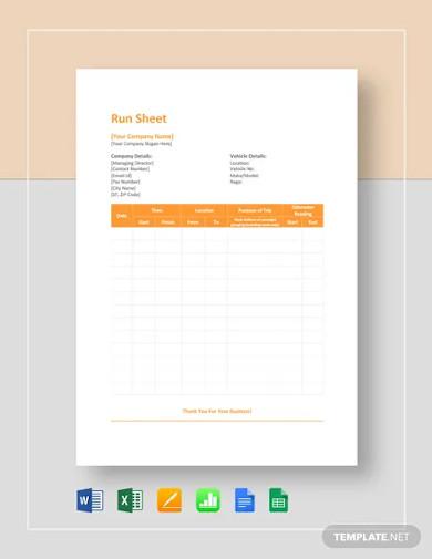 run sheet template