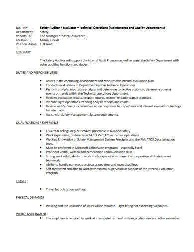 safety auditor job description
