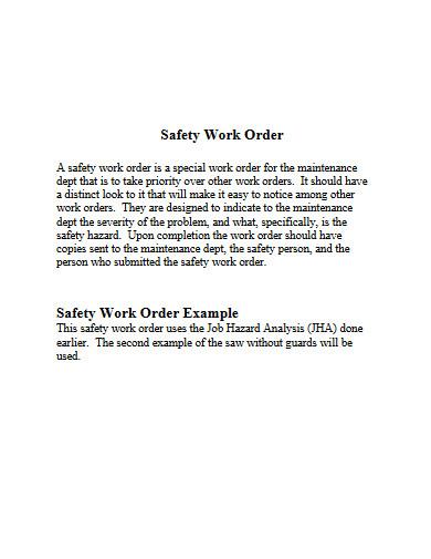 safety work order