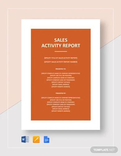 sales activity report template