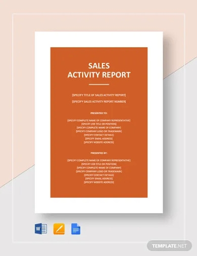 sales activity report templates