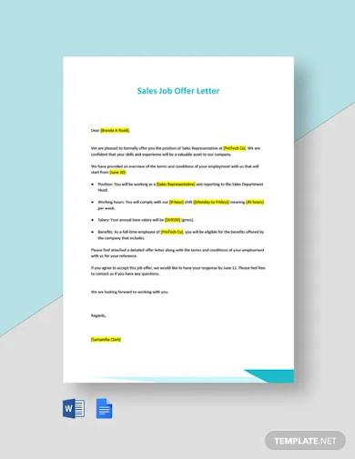 sales job offer letter template