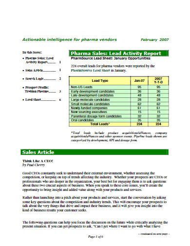 sales lead activity report