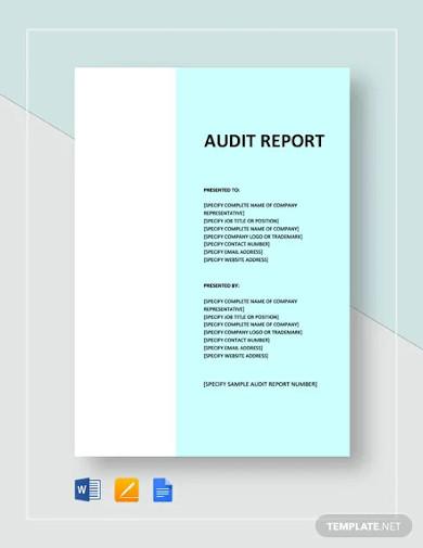 sample audit report templates