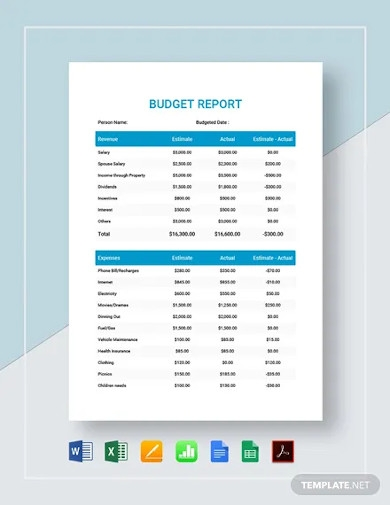 sample budget reports