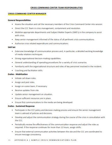 sample crisis communication plan