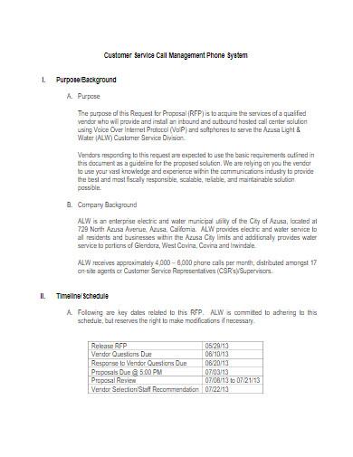 sample customer service proposal