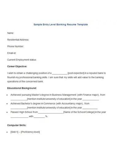 sample entry level banking resume