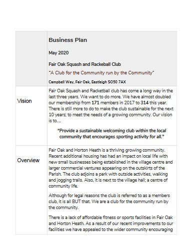 sample gym business plan