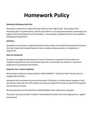 sample homework policy