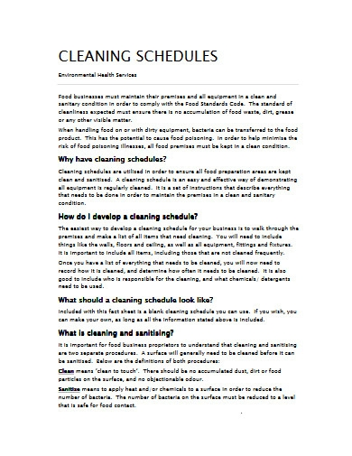 sample kitchen cleaning schedule