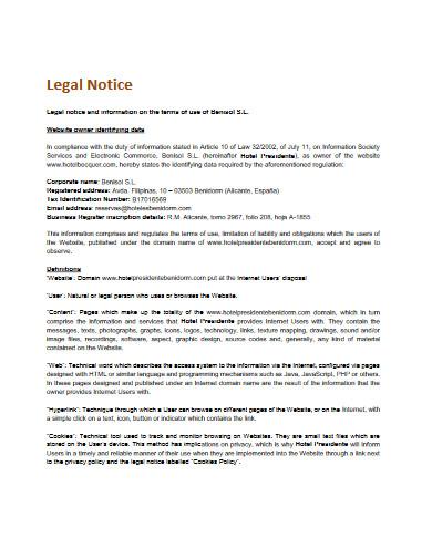 sample legal notice