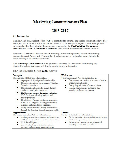 sample marketing communications plan