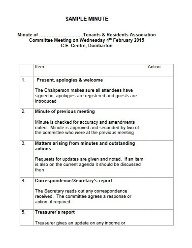 sample minutes of the meeting template