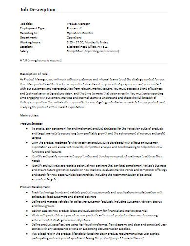 sample product manager job description