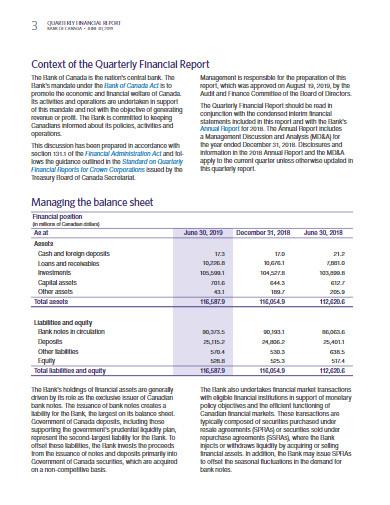 sample quarterly financial report