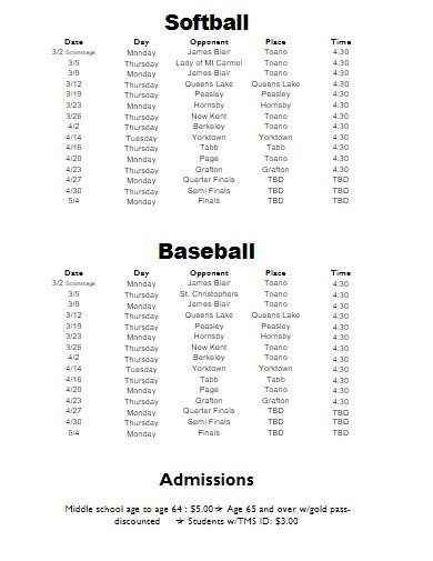 sample sports schedule
