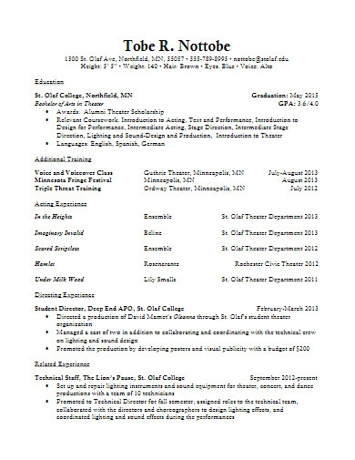 sample theater resume