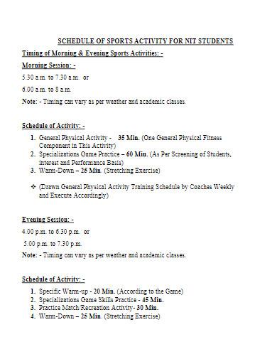 schedule of sports activity