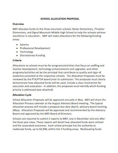 school allocation proposal