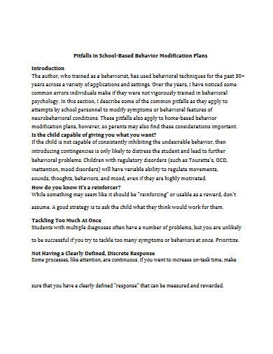school based behavior modification plan in pdf
