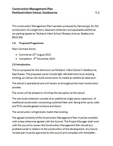 school construction management plan
