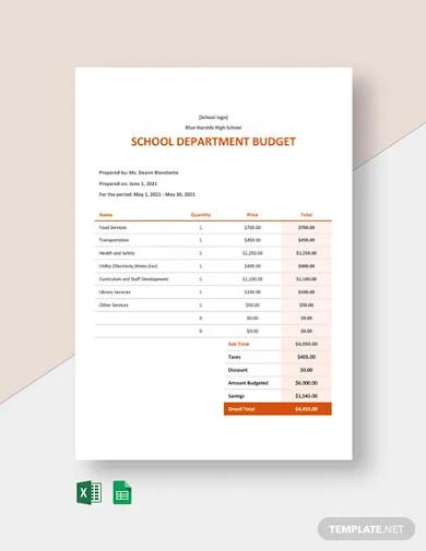 school department budget template