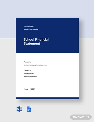 school financial statement template
