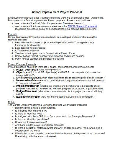 school improvement project proposal