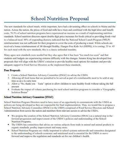 school nutrition proposal