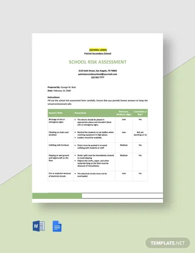 school risk assessment template