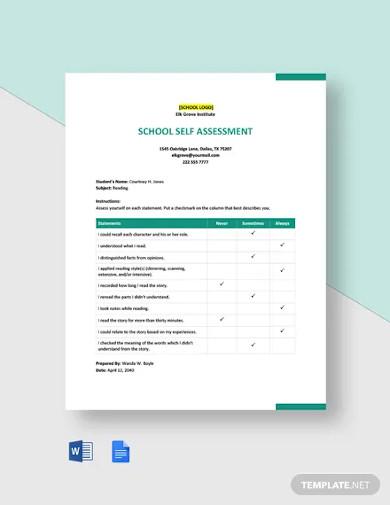 school self assessment template