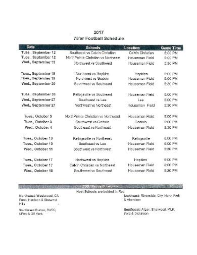school sports schedule