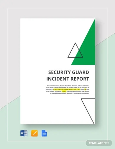 security guard incident report template