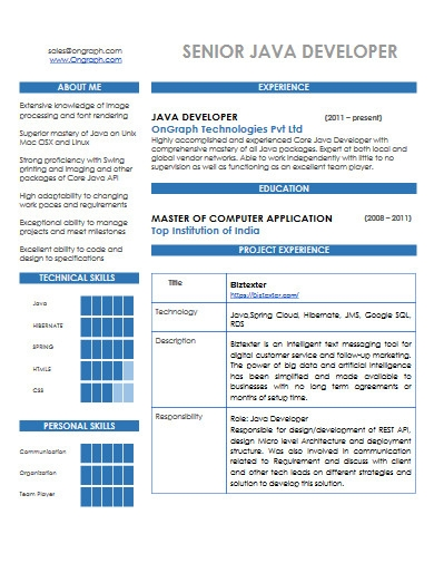senior java developer resume in pdf