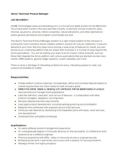 senior technical product manager job description