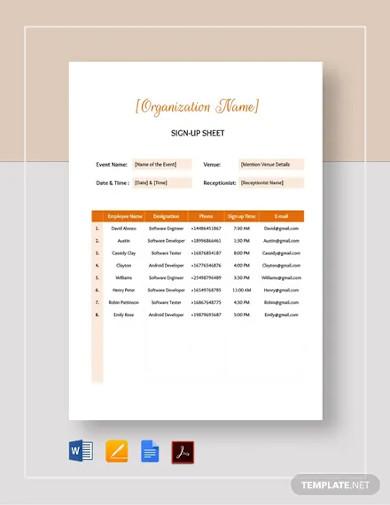 signup sheet templates