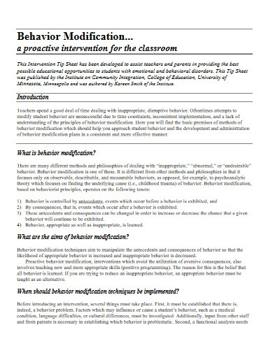 simple behavior modification plan