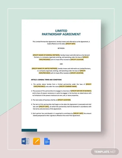 simple limited partnership agreement templates