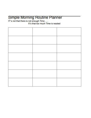 simple morning routine planner
