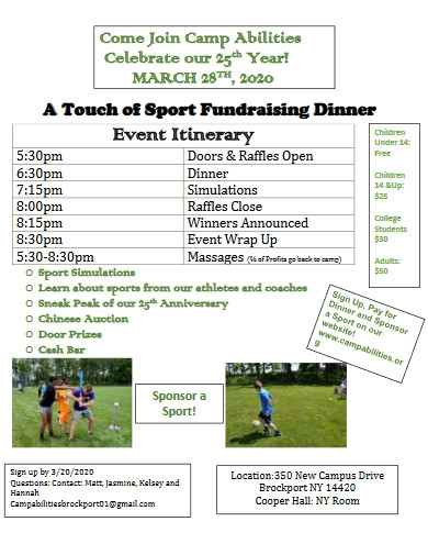 sports event itinerary