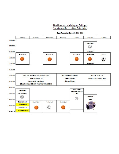 sports and recreation schedule