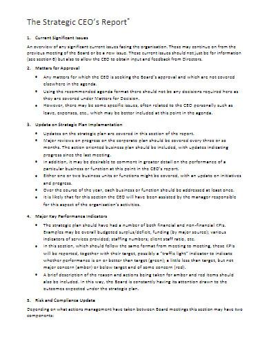 strategic ceo's report